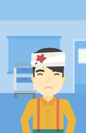 An asian man with bandages over his head. Sad man with a bandaged head in the medical office. Young wounded man in the hospital. Vector flat design illustration. Vertical layout.