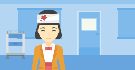 Een Aziatische jonge vrouw met pleisters boven haar hoofd. Droevige vrouw met een verbonden hoofd in de medische kantoor. Jonge vrouw gewond in het ziekenhuis. Vector platte ontwerp illustratie. Horizontale lay-out. Stockfoto - 61301069