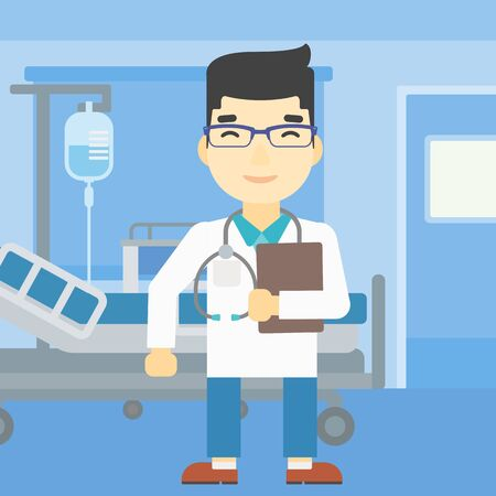 stetoscope: An asian friendly doctor holding a file in hospital ward . Smiling doctor with stetoscope carrying folder of patient or medical information. Vector flat design illustration. Vertical layout.