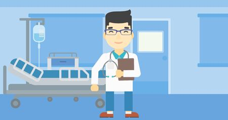 stetoscope: An asian friendly doctor holding a file in hospital ward . Smiling doctor with stetoscope carrying folder of patient or medical information. Vector flat design illustration. Horizontal layout.