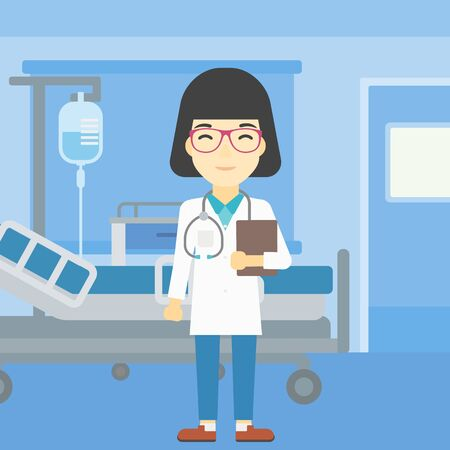 stetoscope: An asian friendly doctor holding a file in hospital ward . Smiling female doctor with stetoscope carrying folder of patient or medical information. Vector flat design illustration. Square layout. Illustration