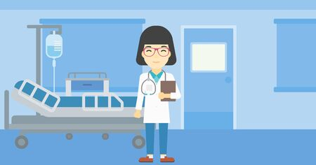 hospital ward: An asian friendly doctor holding a file in hospital ward . Smiling female doctor with stetoscope carrying folder of patient or medical information. Vector flat design illustration. Horizontal layout.