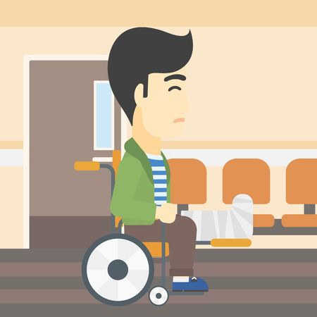 hospital corridor: An asian injured man with leg in plaster. Man with broken leg sitting in wheelchair. Man with fractured leg in the hospital corridor. Vector flat design illustration. Square layout.