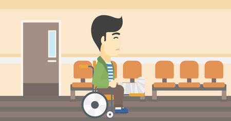 hospital corridor: An asian injured man with leg in plaster. Man with broken leg sitting in wheelchair. Man with fractured leg in the hospital corridor. Vector flat design illustration. Horizontal layout.