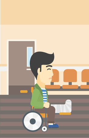 An asian injured man with leg in plaster. Man with broken leg sitting in wheelchair. Man with fractured leg in the hospital corridor. Vector flat design illustration. Vertical layout. Illustration