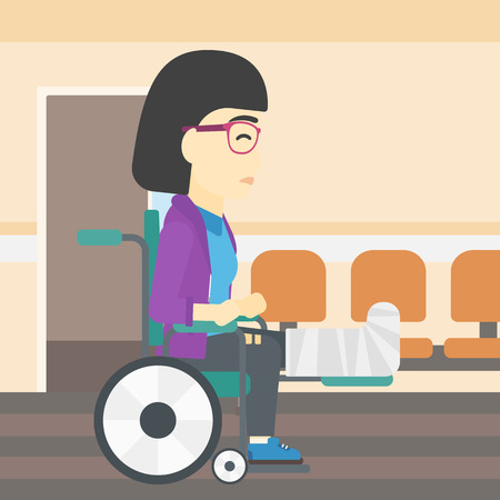 hospital corridor: An asian injured woman with leg in plaster. Young woman with broken leg sitting in wheelchair. Woman with fractured leg in the hospital corridor. Vector flat design illustration. Square layout. Illustration