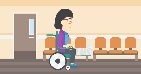 hospital corridor: An asian injured woman with leg in plaster. Young woman with broken leg sitting in wheelchair. Woman with fractured leg in the hospital corridor. Vector flat design illustration. Horizontal layout.