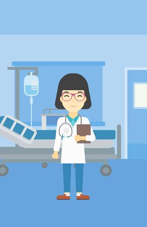 doctor and patient vector: An asian friendly doctor holding a file in hospital ward . Smiling female doctor with stetoscope carrying folder of patient or medical information. Vector flat design illustration. Vertical layout.