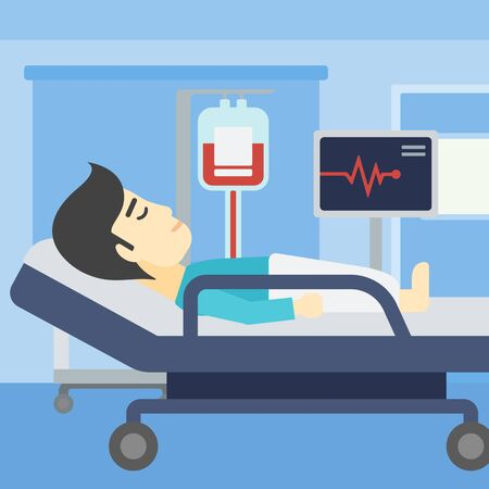 blood transfusion: An asian man lying in bed at hospital ward. Patient with heart rate monitor and equipment for blood transfusion in medical room. Vector flat design illustration. Square layout. Illustration