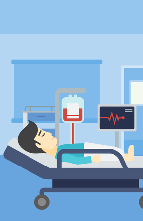 hospital patient: An asian man lying in bed at hospital ward. Patient with heart rate monitor and equipment for blood transfusion in medical room. Vector flat design illustration. Vertical layout.