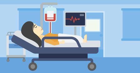woman lying in bed: An asian young woman lying in bed at hospital ward. Patient with heart rate monitor and equipment for blood transfusion in medical room. Vector flat design illustration. Horizontal layout.