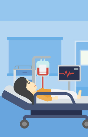 woman lying in bed: An asian young woman lying in bed at hospital ward. Patient with heart rate monitor and equipment for blood transfusion in medical room. Vector flat design illustration. Vertical layout.