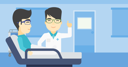 pointing finger up: An asian doctor visiting male patient at hospital ward. Doctor pointing finger up during consultation with patient in hospital room. Vector flat design illustration. Horizontal layout.