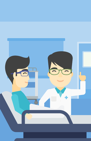 doctor and patient vector: An asian doctor visiting male patient at hospital ward. Doctor pointing finger up during consultation with patient in hospital room. Vector flat design illustration. Vertical layout.