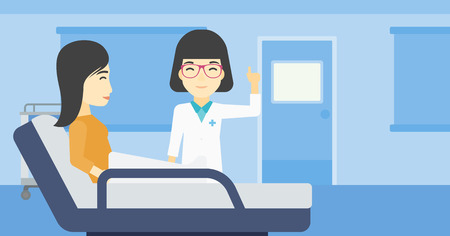 An asian female doctor visiting male patient at hospital ward. Doctor pointing finger up during consultation with patient in hospital room. Vector flat design illustration. Horizontal layout.