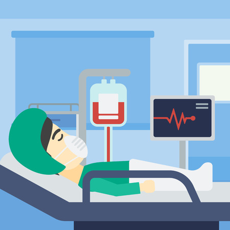 An asian man lying in bed at hospital ward. Patient in oxygen mask lying in hospital ward with heart rate monitor and equipment for blood transfusion. Vector flat design illustration. Square layout. Illusztráció