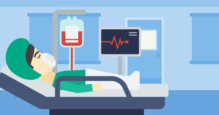 reanimation: Asian man lying in bed at hospital ward. Patient in oxygen mask lying in hospital ward with heart rate monitor and equipment for blood transfusion. Vector flat design illustration. Horizontal layout.