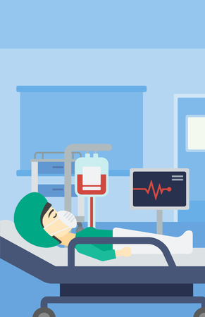 woman lying in bed: Asian woman lying in bed at hospital ward. Patient in oxygen mask lying in hospital ward with heart rate monitor and equipment for blood transfusion. Vector flat design illustration. Vertical layout.