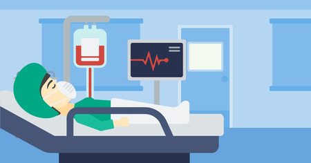 heart monitor: Asian woman lying in bed at hospital ward. Patient in oxygen mask lying in hospital ward with heart rate monitor and equipment for blood transfusion. Vector flat design illustration. Horizontal layout