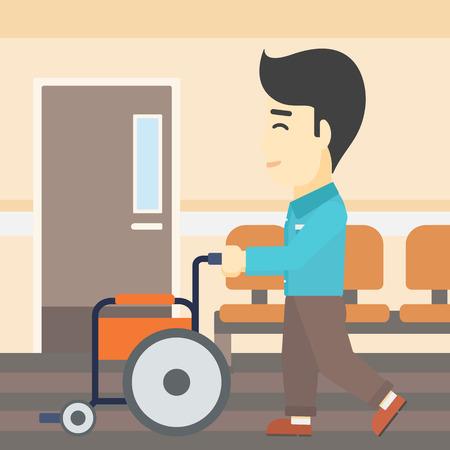 Een Aziatische jonge man duwen lege rolstoel op de achtergrond van het ziekenhuis gang. Vector platte ontwerp illustratie. Vierkante lay-out.
