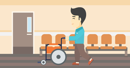 conduct: An asian young man pushing empty wheelchair on the background of hospital corridor. Vector flat design illustration. Horizontal layout.