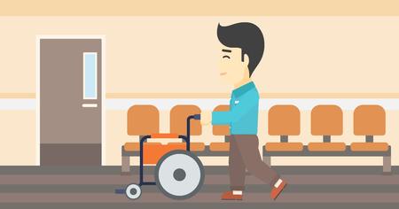 Een Aziatische jonge man duwen lege rolstoel op de achtergrond van het ziekenhuis gang. Vector platte ontwerp illustratie. Horizontale lay-out.