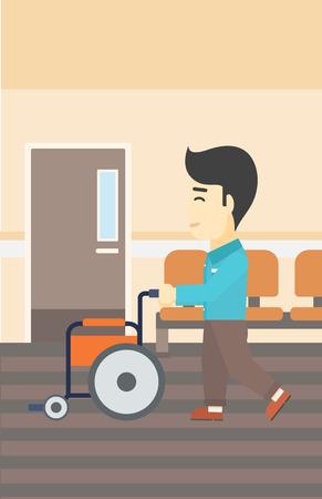 Een Aziatische jonge man duwen lege rolstoel op de achtergrond van het ziekenhuis gang. Vector platte ontwerp illustratie. Verticale lay-out. Stock Illustratie