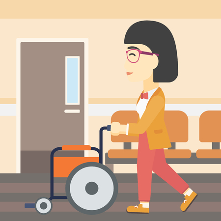 hospital corridor: An asian young woman pushing empty wheelchair on the background of hospital corridor. Vector flat design illustration. Square layout.