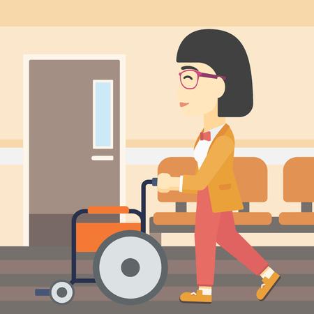 Een Aziatische jonge vrouw duwen lege rolstoel op de achtergrond van het ziekenhuis gang. Vector platte ontwerp illustratie. Vierkante lay-out.