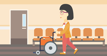 mobility nursing: An asian young woman pushing empty wheelchair on the background of hospital corridor. Vector flat design illustration. Horizontal layout.
