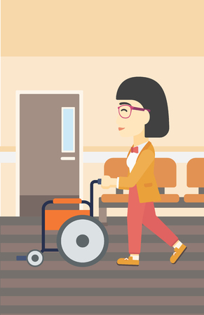 hospital corridor: An asian young woman pushing empty wheelchair on the background of hospital corridor. Vector flat design illustration. Vertical layout.