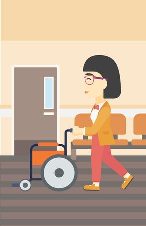 Een Aziatische jonge vrouw die lege rolstoel op de achtergrond van het ziekenhuisgang duwen. Vector platte ontwerp illustratie. Verticale lay-out. Stock Illustratie