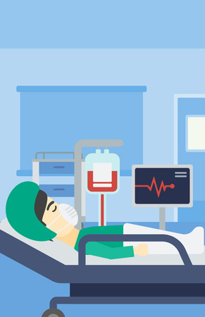 oxygen mask: An asian man lying in bed at hospital ward. Patient in oxygen mask lying in hospital ward with heart rate monitor and equipment for blood transfusion. Vector flat design illustration. Vertical layout.