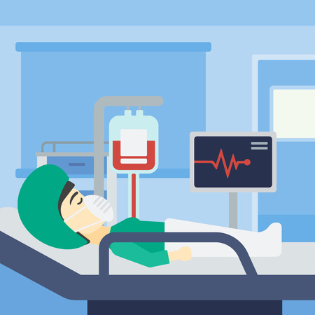 An asian woman lying in bed at hospital ward. Patient in oxygen mask lying in hospital ward with heart rate monitor and equipment for blood transfusion. Vector flat design illustration. Square layout.