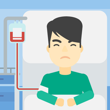 reanimation: An asian man lying in bed at hospital ward with equipment for blood transfusion. Man during medical procedure with drop counter at medical room. Vector flat design illustration. Square layout.