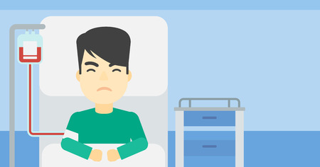 hospital ward: An asian man lying in bed at hospital ward with equipment for blood transfusion. Man during medical procedure with drop counter at medical room. Vector flat design illustration. Horizontal layout.