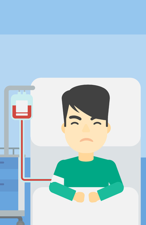 An asian man lying in bed at hospital ward with equipment for blood transfusion. Man during medical procedure with drop counter at medical room. Vector flat design illustration. Vertical layout. Illustration