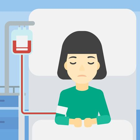 woman lying in bed: An asian woman lying in bed at hospital ward with equipment for blood transfusion. Woman during medical procedure with drop counter at medical room. Vector flat design illustration. Square layout.