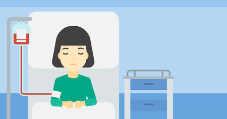 woman lying in bed: An asian woman lying in bed at hospital ward with equipment for blood transfusion. Woman during medical procedure with drop counter at medical room. Vector flat design illustration. Horizontal layout.