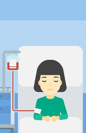 woman lying in bed: An asian woman lying in bed at hospital ward with equipment for blood transfusion. Woman during medical procedure with drop counter at medical room. Vector flat design illustration. Vertical layout.