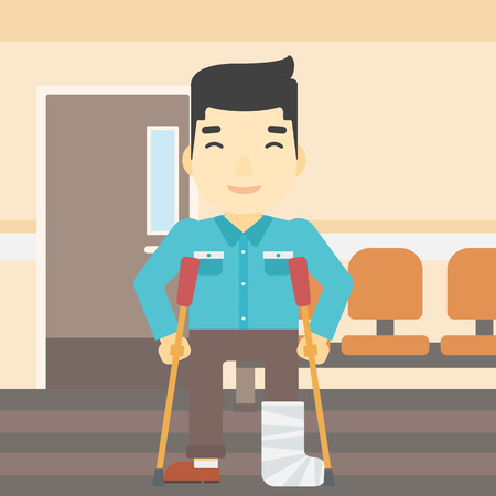 hospital corridor: An asian injured man with leg in plaster. Man with broken using crutches. Man with fractured leg in the hospital corridor. Vector flat design illustration. Square layout.