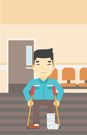 An asian injured man with leg in plaster. Man with broken using crutches. Man with fractured leg in the hospital corridor. Vector flat design illustration. Vertical layout. Illustration