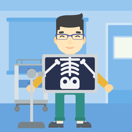 chest x ray: An asian patient during chest x ray procedure in examination room. Young man with x ray screen showing his skeleton at doctor office. Vector flat design illustration. Square layout. Illustration