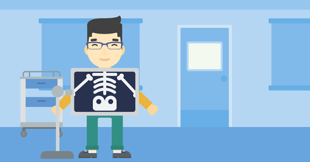 x ray machine: An asian patient during chest x ray procedure in examination room. Young man with x ray screen showing his skeleton at doctor office. Vector flat design illustration. Horizontal layout. Illustration