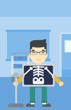 procedure: An asian patient during chest x ray procedure in examination room. Young man with x ray screen showing his skeleton at doctor office. Vector flat design illustration. Vertical layout. Illustration