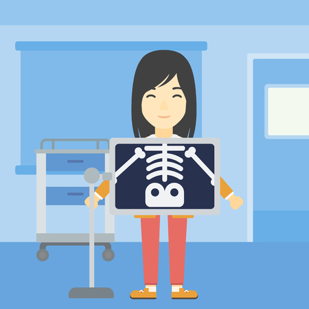 radiogram: An asian patient during chest x ray procedure in examination room. Young woman with x ray screen showing his skeleton at doctor office. Vector flat design illustration. Square layout. Illustration