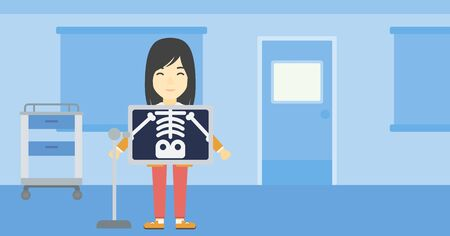 x ray machine: An asian patient during chest x ray procedure in examination room. Young woman with x ray screen showing his skeleton at doctor office. Vector flat design illustration. Horizontal layout. Illustration