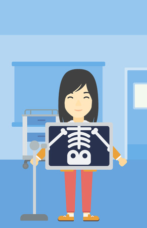radiograph: An asian patient during chest x ray procedure in examination room. Young woman with x ray screen showing his skeleton at doctor office. Vector flat design illustration. Vertical layout.