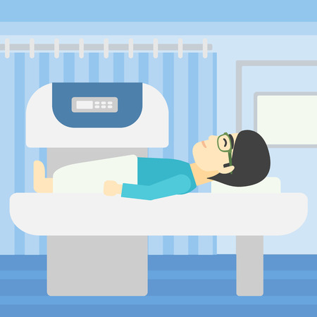 An asian young man undergoes a magnetic resonance imaging scan test at hospital room. Magnetic resonance imaging machine scanning patient. Vector flat design illustration. Square layout. Illustration