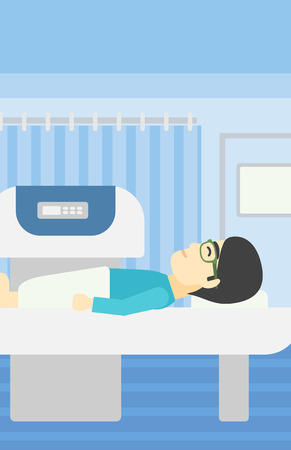 ct scan: An asian young man undergoes a magnetic resonance imaging scan test at hospital room. Magnetic resonance imaging machine scanning patient. Vector flat design illustration. Vertical layout.